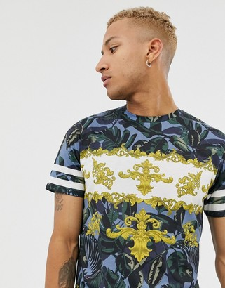 Topman all over baroque t-shirt in blue