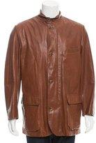 Loro Piana Leather Windowpane-Lined Coat