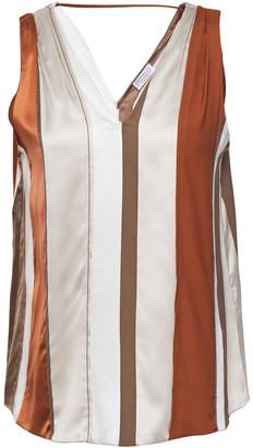 Brunello Cucinelli Bead-embellished Striped Stretch-silk Top