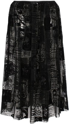 Ashley Williams Magazine Print Mesh Midi Skirt