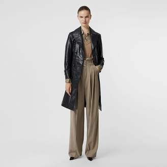 Burberry Dring Detail Crinkled Leather Trench Coat
