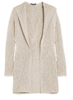 James Perse Hooded open-knit cotton and linen-blend cardigan