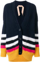 No.21 striped oversized cardigan