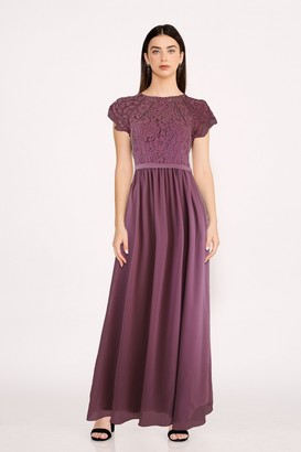Little Mistress Bridesmaid Sonja Mauve Lace Maxi Dress