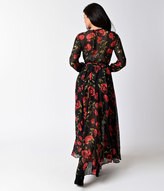 Moon Collection 1970s Style Black & Red Floral Print Long Sleeve Maxi Dress