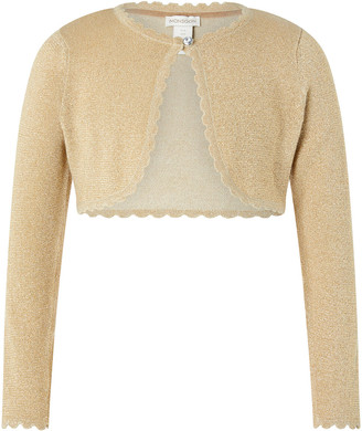 Monsoon Niamh Sparkle Knitted Cardigan with Crystal Button Gold