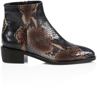 Aquatalia Faelynn Snakeskin-Embossed Leather Ankle Boots