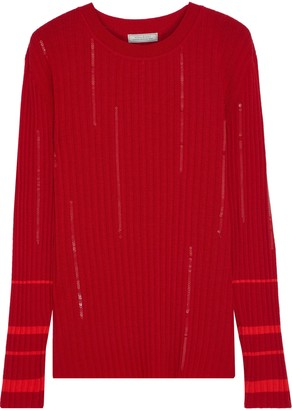 Nina Ricci Sequin-embellished Ribbed Wool-blend Sweater