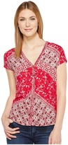Lucky Brand Bali Ditsy Top Women's Short Sleeve Pullover