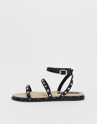Asos Design DESIGN Juliette premium leather studded espadrilles-Black