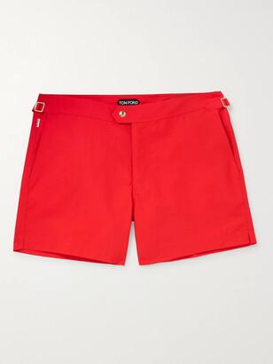 Tom Ford Slim-Fit Mid-Length Swim Shorts - Men - Red