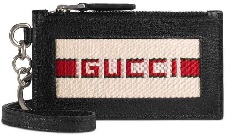 Gucci Fake Logo Leather Lanyard Card Case