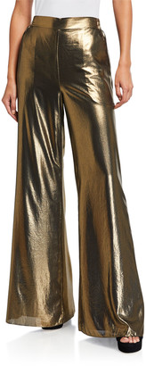Ramy Brook Metallic High-Waist Palazzo Pants