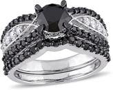 Julie Leah 2 1/6 CT TW Black and White Diamond 10K White Gold Bridal Set