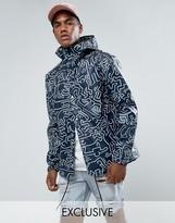 Herschel Forecast Hooded Coach Jacket Waterproof Keith Haring Print in Navy UK EXCLUSIVE