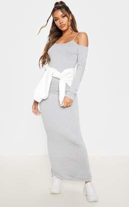 PrettyLittleThing Black Long Sleeve Twin Strap Jersey Maxi Dress
