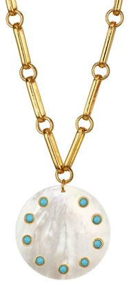 Nest Turquoise & Mother-Of-Pearl Pendant Oval-Link Necklace