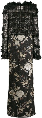 Talbot Runhof contrast embellished dress