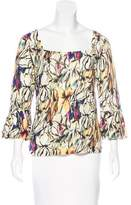 Magaschoni Floral Print Square Neck Sweater