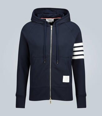 Thom Browne 4-Bar zip-up hooded sweatshirt