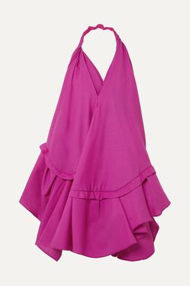 Jacquemus Rosa Open-back Asymmetric Wool Halterneck Dress - Pink