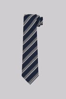 Moss Bros Navy & Grey Stripe Tie