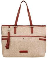 Wilsons Leather Womens Coated Canvas Tote W/ Leather Trim