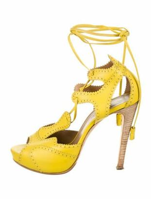 Hermes Leather Eyelet Trim Sandals Yellow