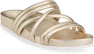 J/Slides Tess Metallic Leather Strappy Slide Sandals