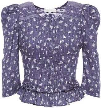 LoveShackFancy Brenna Ruffled Floral-print Cotton-jacquard Jacket