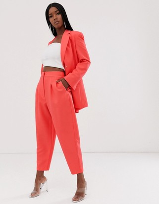 Asos Design DESIGN exaggerated 80s tapered suit trousers in coral-Orange