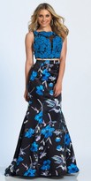 Dave and Johnny Two Piece Floral Print Beaded Applique Mermaid Prom Dress