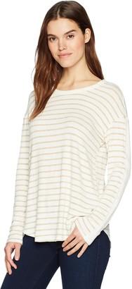 Michael Stars Women's Madison Brushed Stripe Long Sleeve Crew Neck top