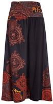 Aller Simplement Black & Orange Abstract Midi Skirt