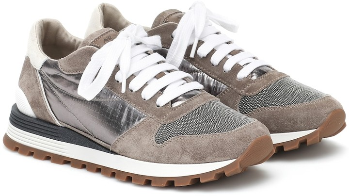 Brunello Cucinelli Embellished suede-trimmed sneakers