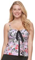 A Shore Fit Women's A Shore Fit Tummy Slimmer Bow-Front Tankini Top