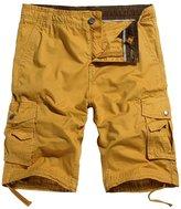 OCHENTA Men's Cotton Casual Multi Pockets Cargo Shorts Yellow