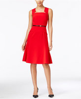 Calvin Klein Notched Belted A-Line Dress