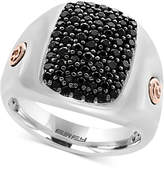 Effy Men's Black Sapphire Cluster Ring (1-3/8 ct. t.w.) in Sterling Silver and 18k Rose Gold