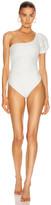 Jonathan Simkhai Darya Embellished Eyelet Swimsuit in White | FWRD
