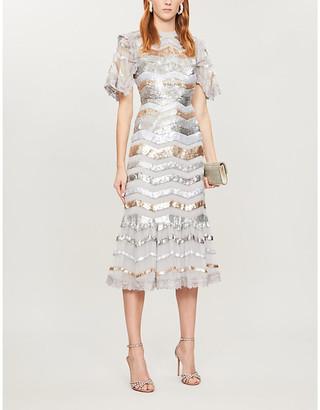 Needle And Thread Alaska striped sequin-and-tulle midi dress