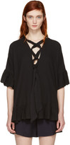 See by Chloe Black Cotton Ruffle Blouse
