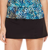 Jamaica Bay Muted Reptile Triple-Tier Ruffle Tankini Swim Top