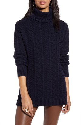 Halogen Over-Sized Cable Turtleneck