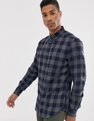 French Connection large gingham flannel shirt-Grey
