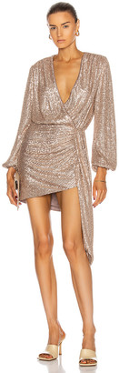 Jonathan Simkhai Roxi Sequin Wrap Dress in Fawn | FWRD