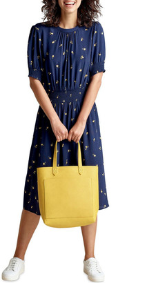 French Connection Floral Shirred Midi Dress Navy