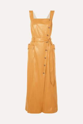 Nanushka Moun Belted Vegan Leather Wrap-effect Midi Dress - Mustard