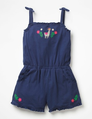 Embroidered Jersey Playsuit