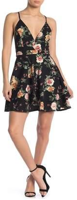 Love, Nickie Lew Low Cut V-Neck Floral Print Skater Dress